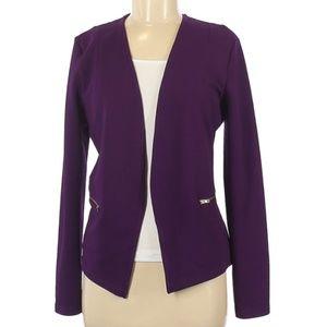 Purple Lace Back Two Front Pockets Cardigan Blazer